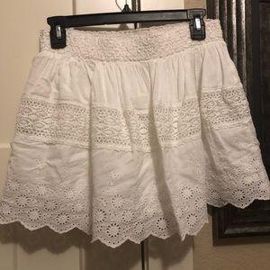 White Lined Embroidered Ralph Lauren Mini Skirt